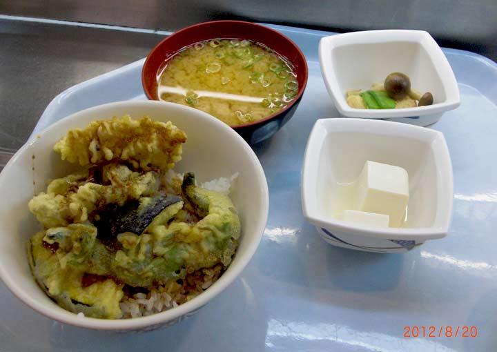 京都食材天丼と京白丹波大豆の揚げ湯葉炊き合わせ