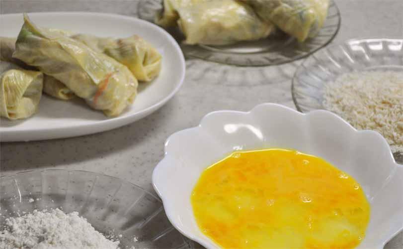 小麦粉、溶き卵、パン粉(ゆばの春巻き風フライレシピ)