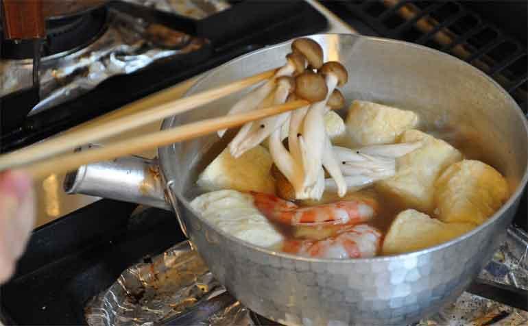 海老としめじ茸(揚げゆばの炊き合わせレシピ)
