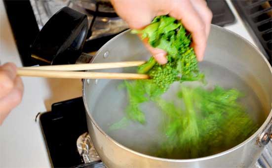 菜の花の下茹で(つまみゆばの白味噌ポトフのレシピ)
